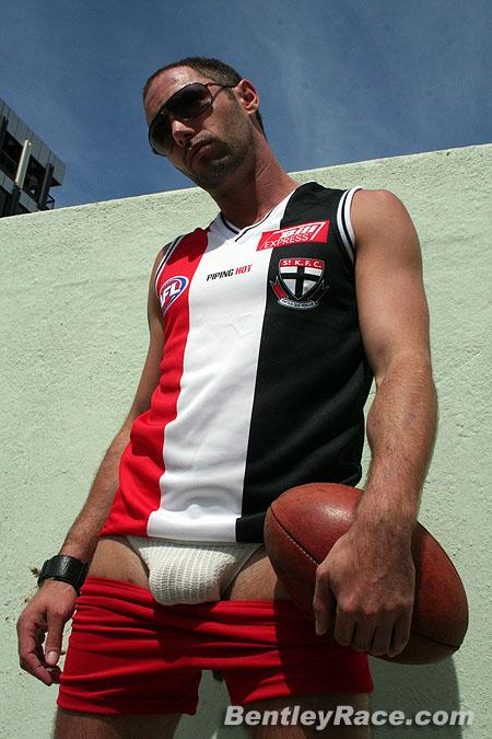 Josh in a white sports jock strap