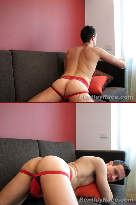 Ben give's himself head in his red jockstrap