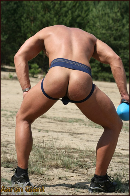 aaron giant in a nypd jockstrap