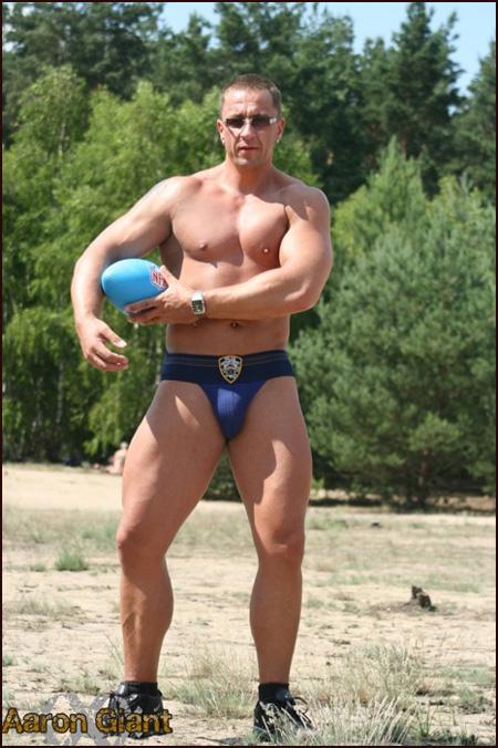 huge guy in a jock strap