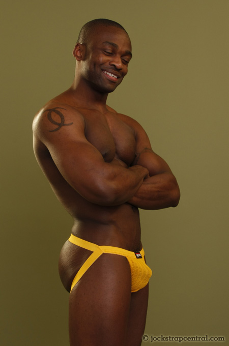 black guy in a safetgard jockstrap