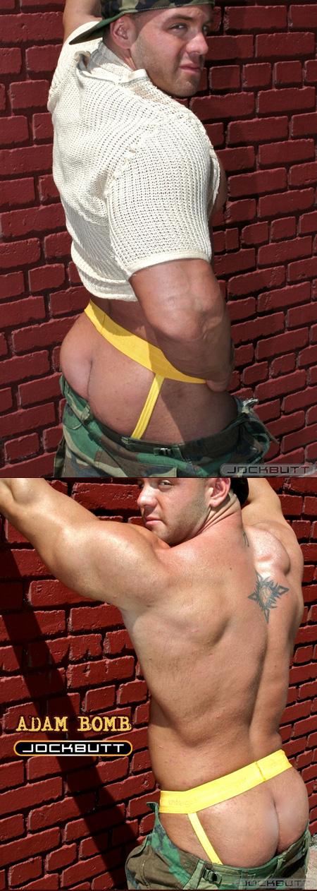 muscle guy in yellow jockstrap