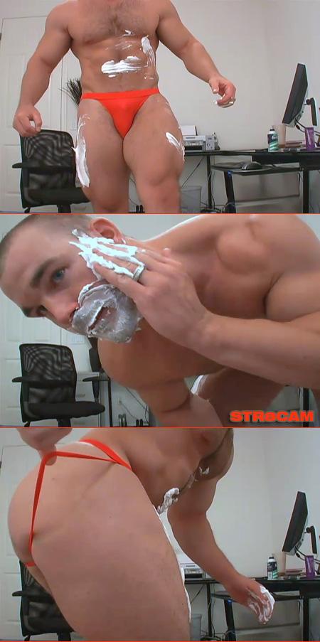 jerking off with shaving foam