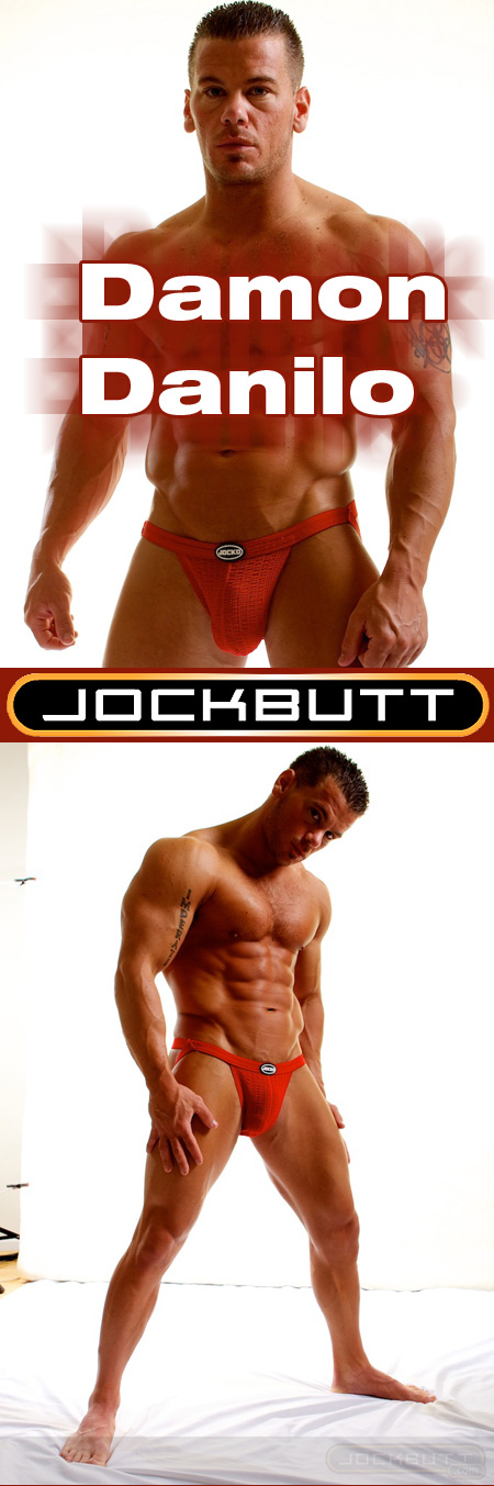 Damon Danilo in a red Jocko Jockstrap