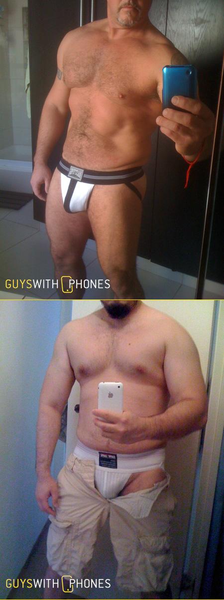 Guys with iPhones in Jockstraps