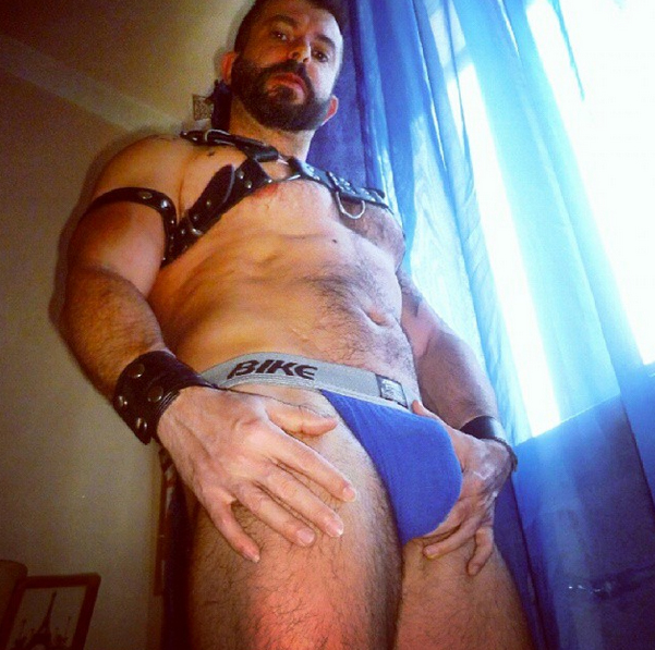 George sporting one of our personal favorite jockstraps from Bike.