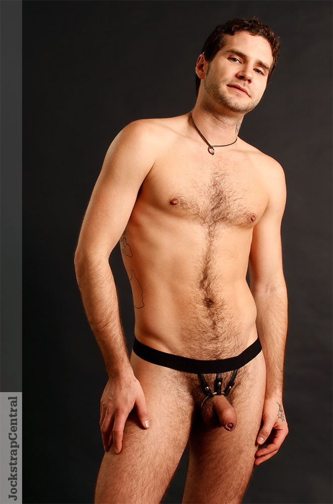 Our Model Adam Stray wearing the Male Power Extreme Strappy Ring Thong.