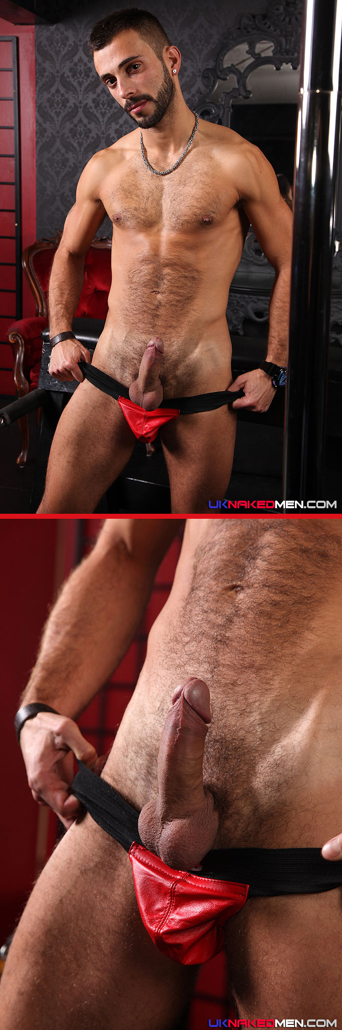 Alec Hill in a Red Leather Jockstrap