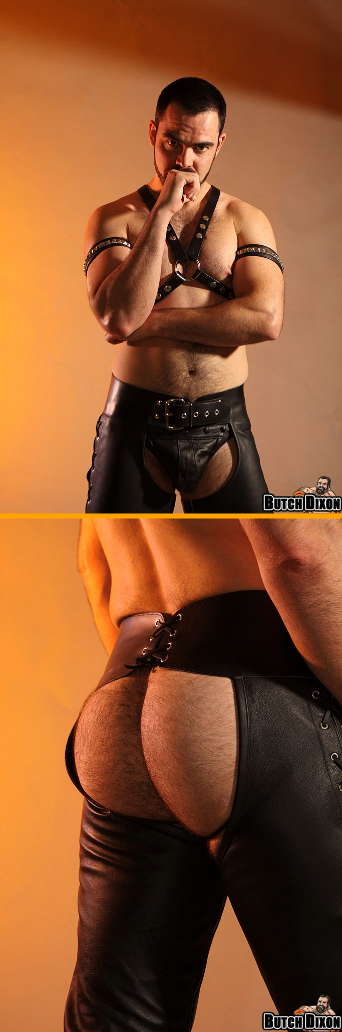 Dolan Wolf in a Leather Jockstrap