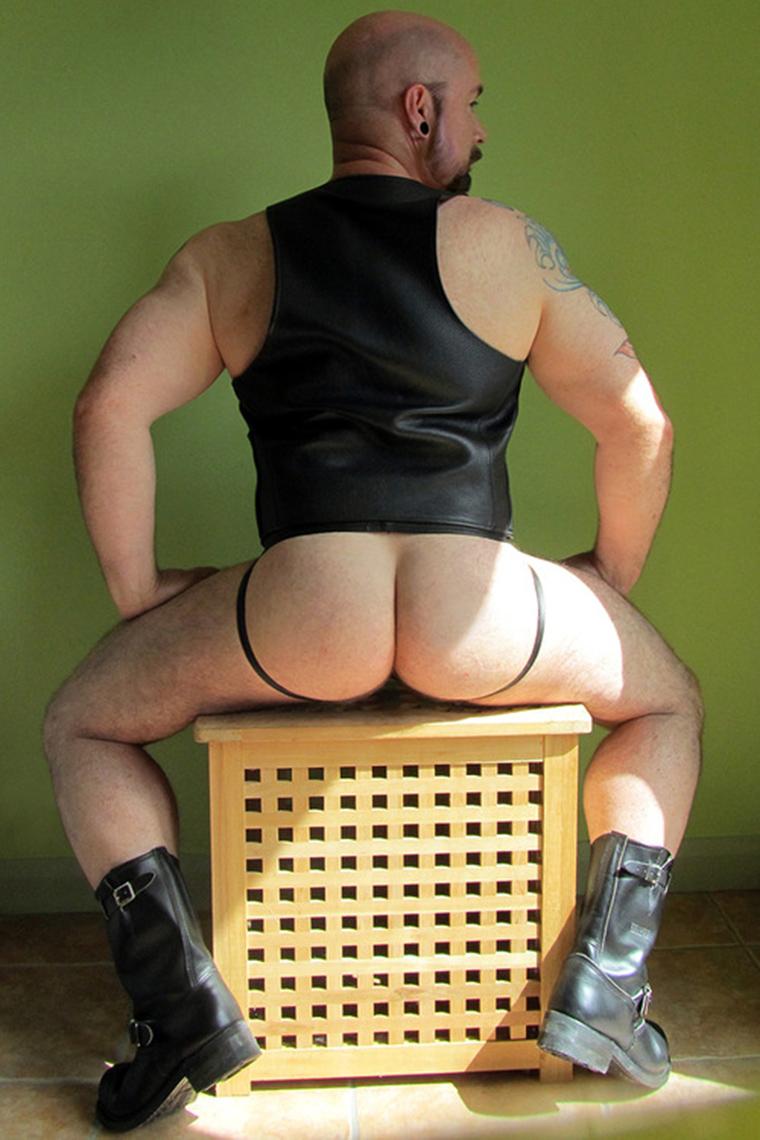 Ass in a leather jockstrap