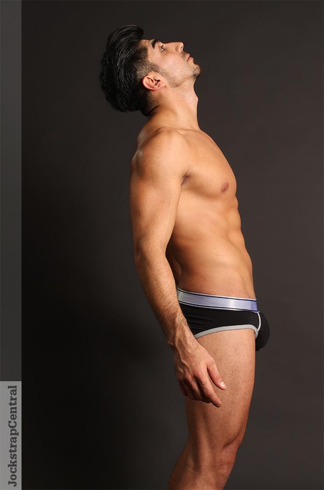 Jockstrap Central model Manny in a Nasty Pig Titanium Brief