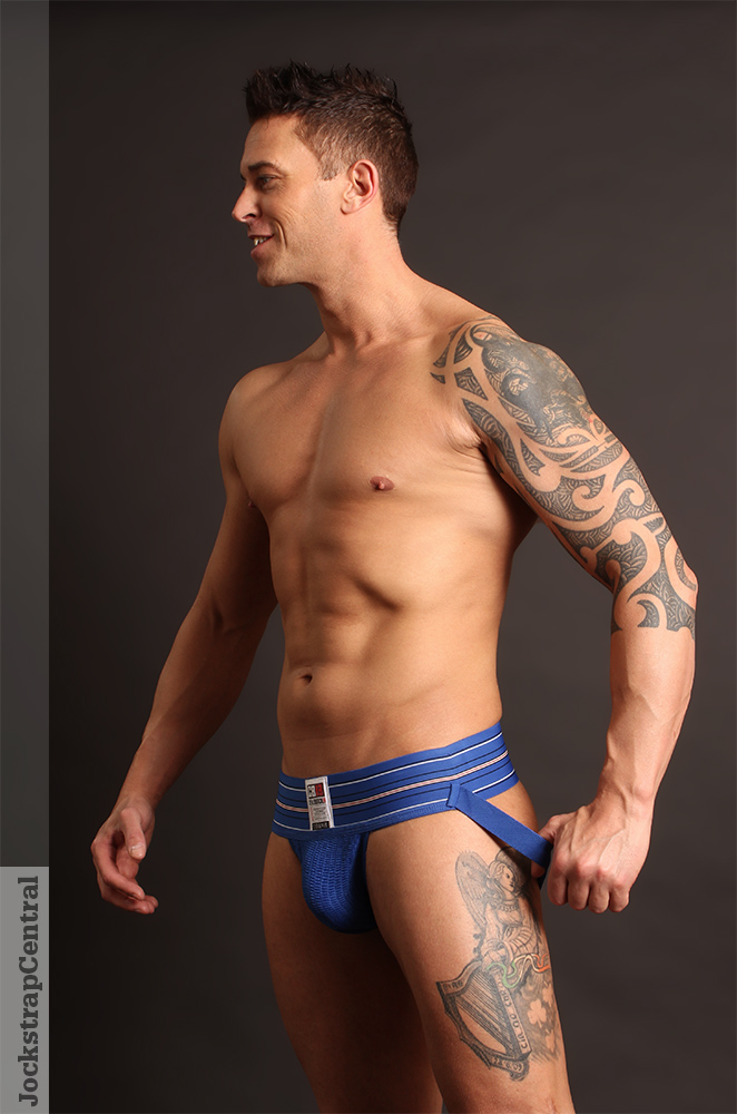 Jockstrap Central model Seamus in a Cellblock 13 Fullback Jockstrap