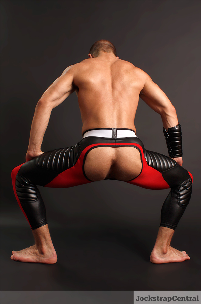 red Maskulo Leggings modeled by Caleb King for Jockstrap Central