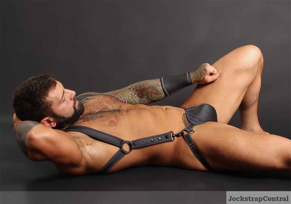 Cellblock 13 Sonic Jockstrap, Harness and Cuff modeled by Simon for Jockstrap Central