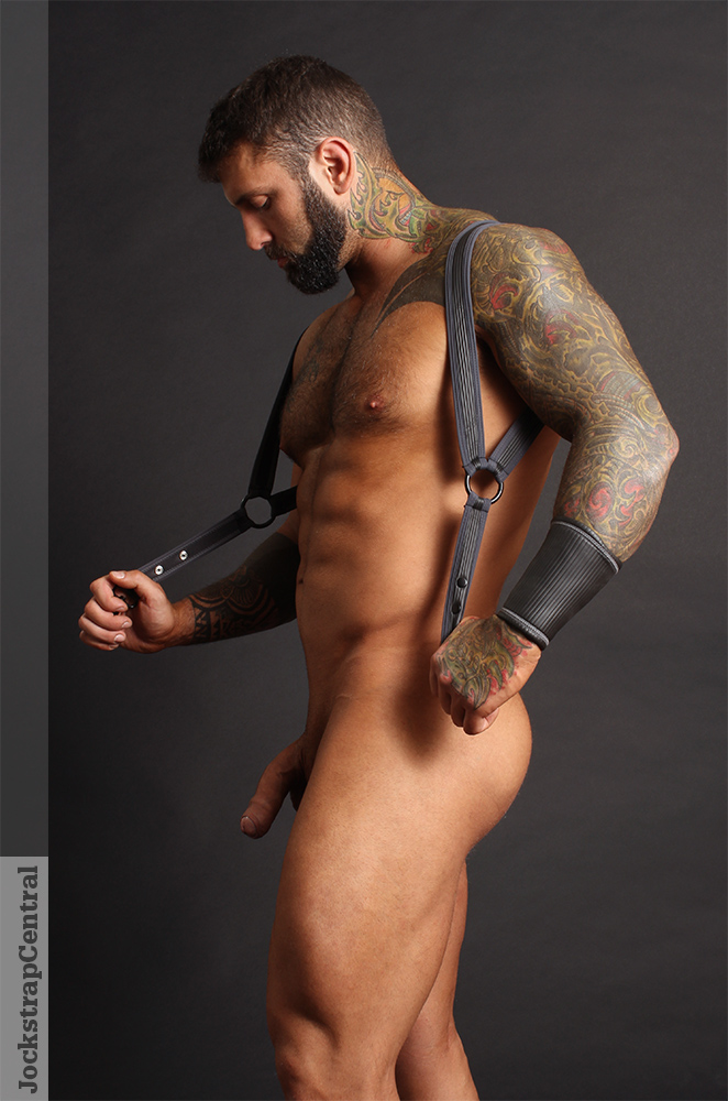 Cellblock 13 Sonic Harness modeled by Simon for Jockstrap Central