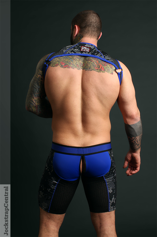Simon in Cellblock 13 Cyber Xtreme Shorts and Harness
