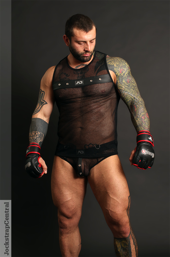 Simon in Addicted Fetish Mesh Bottomless Brief and Tank Top