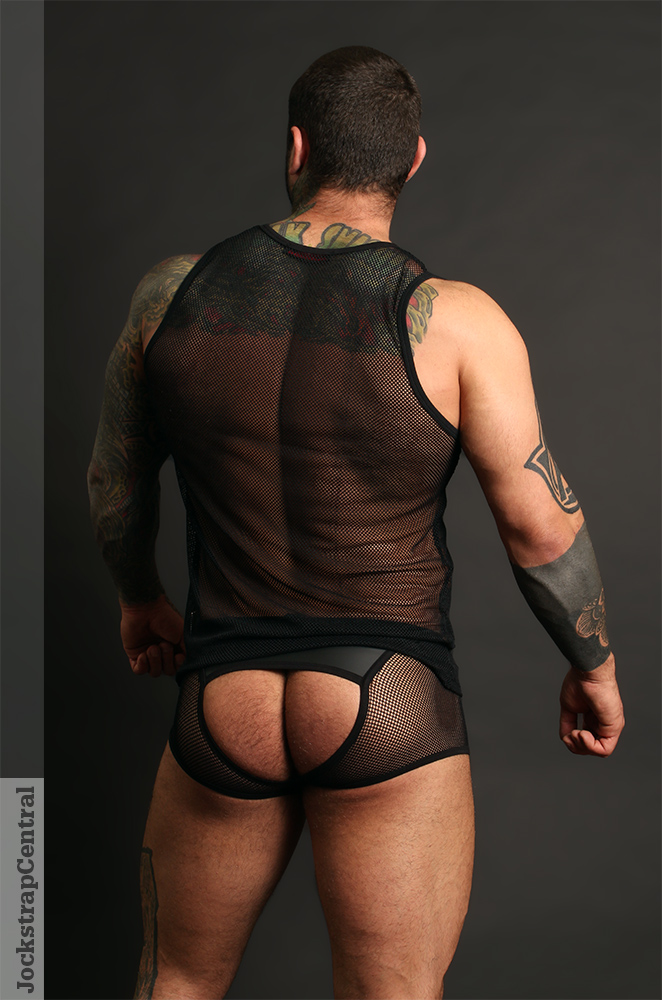 Simon in Addicted Fetish Mesh Bottomless Trunk and Tank Top