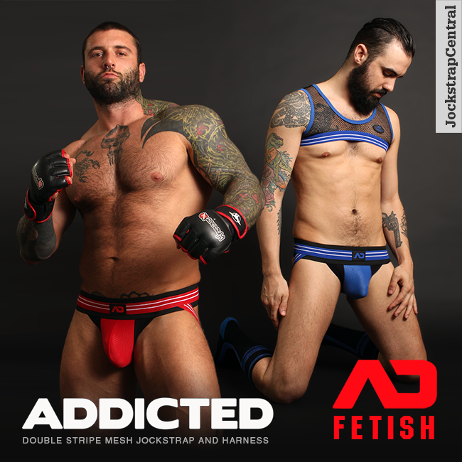 Addicted Fetish Double Stripe Mesh Jockstrap and Harness