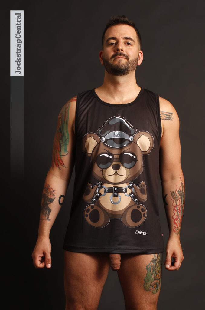 Jockstrap Central model Matty in a Bruto Teddy Bear Tank Top