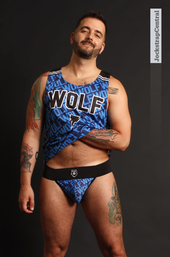 Jockstrap Central model Matty in a Bruto Wolf Jockstrap and Wolf Tank Top
