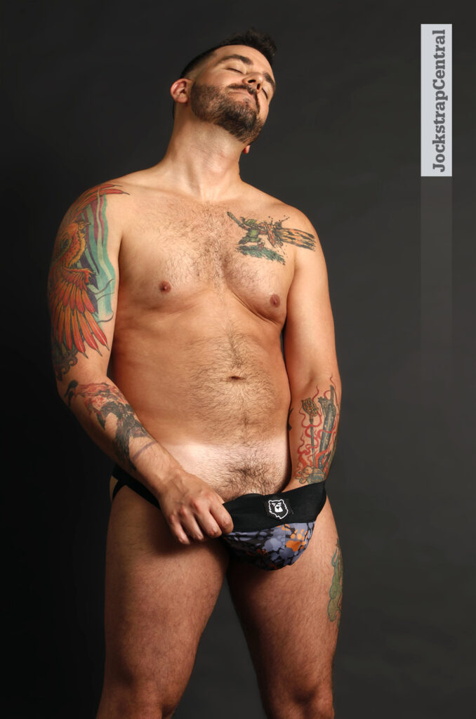 Jockstrap Central model Matty in a Bruto Camo Paw Jockstrap